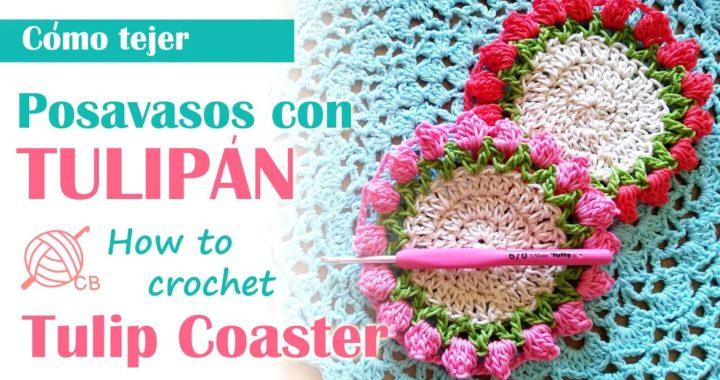 Decorar Cocina 2020 - Crochet Tulip coaster - Posavasos fácil con tulipán -Popcorn Stitch coaster