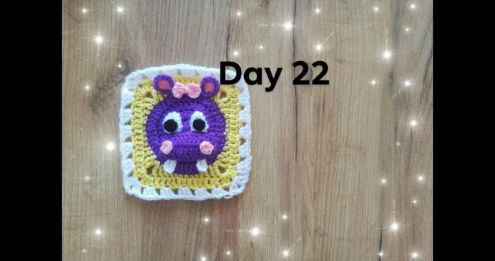 Dzień 22- kwadrat babuni na szydełku z hipciem 3d  - crochet granny square with hipo 3d day 22 - 30