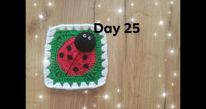 Dzień 25- kwadrat babuni na szydełku z biedronką  - crochet granny square with ladybug day 25 - 30