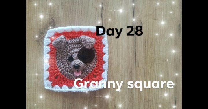 Dzień 28- kwadrat babuni na szydełku z pieskiem 3d- crochet granny square with dog 3d day 28 - 30
