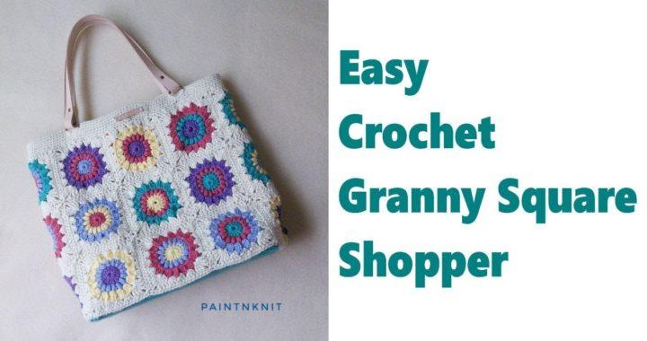 Easy DIY #Grannysquare Crochet Shopper Tote