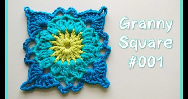 GRANNY SQUARE #001 o cuadrado de la abuela a ganchillo crochet   PASO A PASO en español