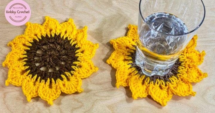 Girasol Posavasos a crochet paso a paso (Versión Diestra)