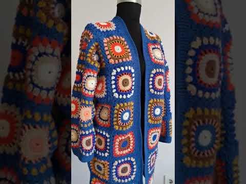 Granny Square Crochet Cotton Yarn Cardigan,Handmade Crochet Patchwork Jacket