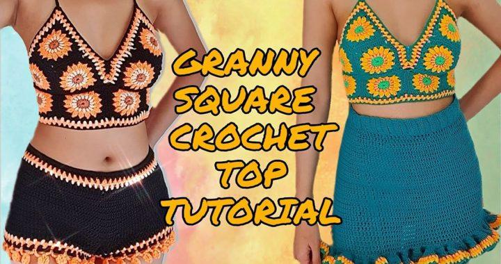Granny Square Crochet Top TUTORIAL | Intermediate Level