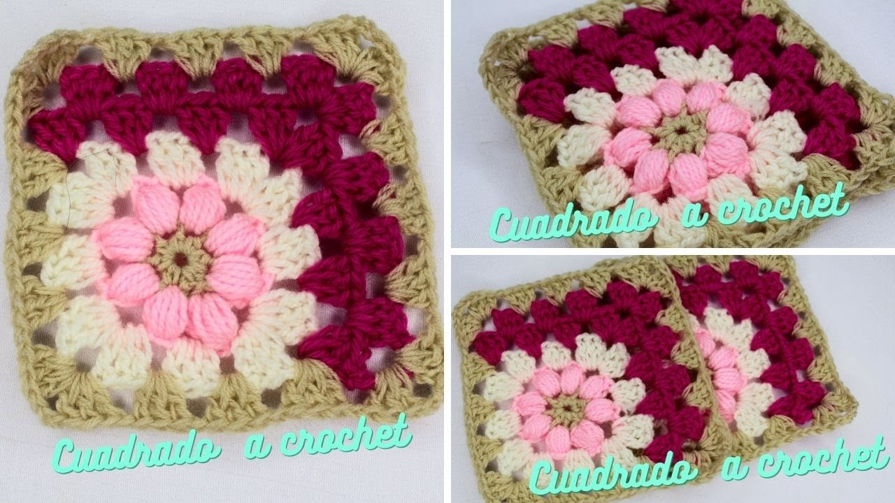 Granny Square Crochet Tutorial tejido en diagonal