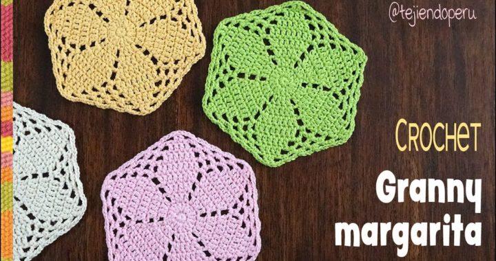 Granny margarita o hexágono tejido a crochet / Tejiendo Perú