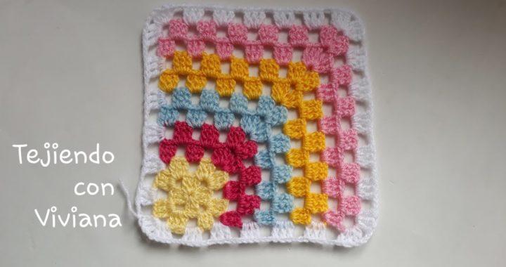 Granny o Cuadro Tejido a Gancho Crochet facil para Sabanitas Mantas Colchitas o Manteles