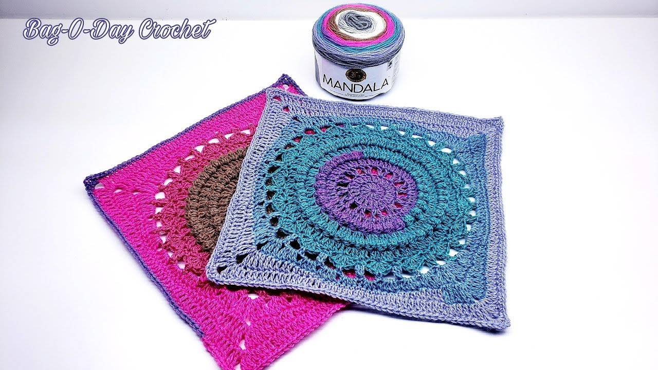 """HOW TO #CROCHET A GRANNY SQUARE   CIRCLES OF TIME 14""""   BAGODAY CROCHET TUTORIAL #504"""