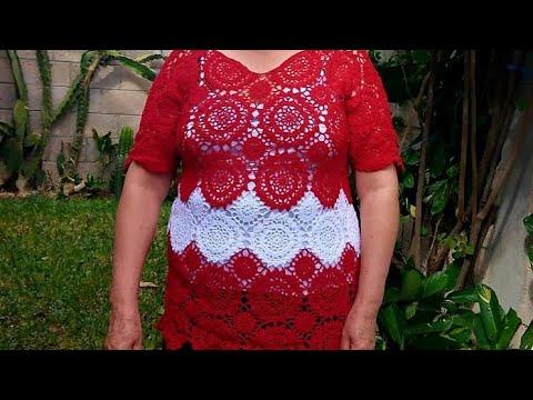 HTM Blusa para dama tejida a crochet modelo Magdalena