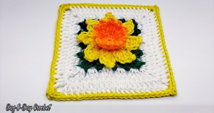 How To Crochet A Flower Granny Square | Daffodil Flower | Bag O Day Crochet Tutorial #579