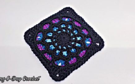 How To Crochet A Stained Glass Granny Square - Cathedral Windows | BAGODAY CROCHET TUTORIAL #530