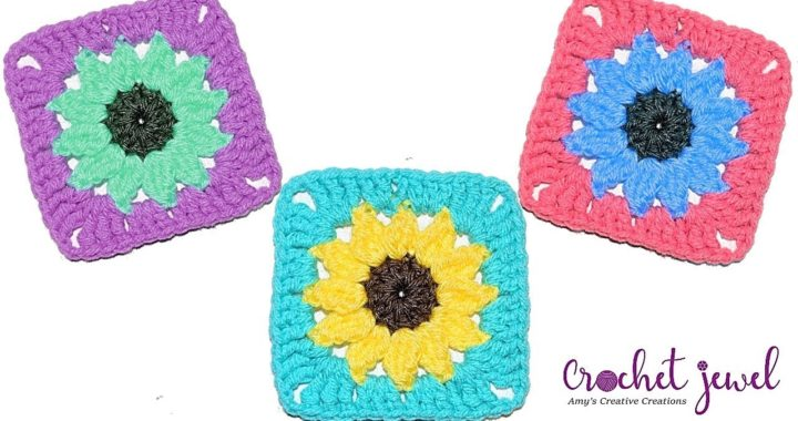 How to Crochet Sunflower Granny Square Tutorial - Crochet Jewel