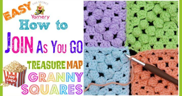 How to Join Treasure Map Popcorn Granny Squares - Easy JAYGO Crochet Tutorial | The Secret Yarnery