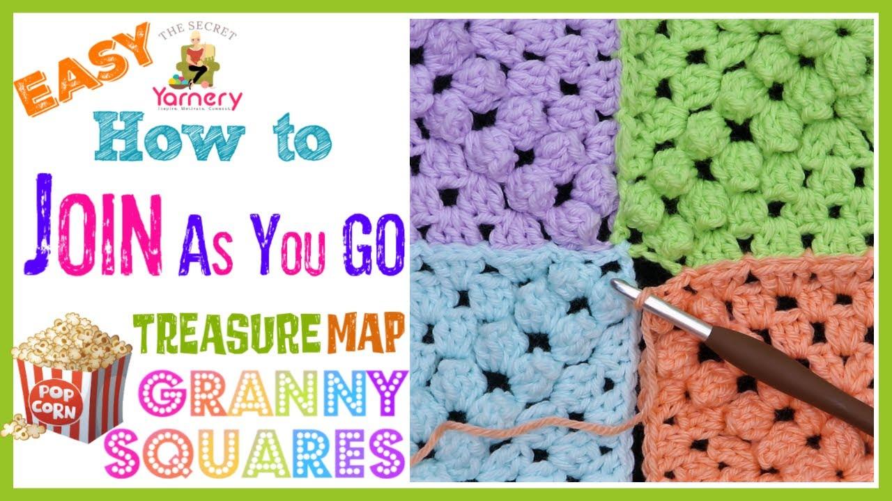 How to Join Treasure Map Popcorn Granny Squares - Easy JAYGO Crochet Tutorial   The Secret Yarnery