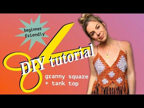 How to crochet a granny square + DIY tank top (beginner tutorial)