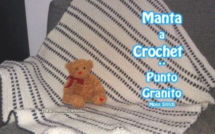 Manta a Crochet PUNTO GRANITO - crochet moss stitch tutorial //muy facil//