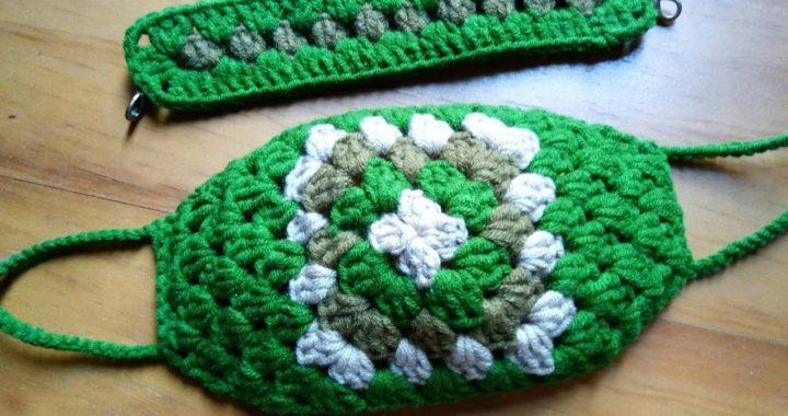 Masker rajut granny square | crochet face mask | cubrebocas de crochet