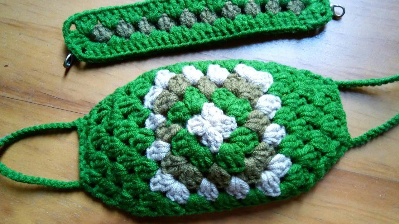 Masker rajut granny square   crochet face mask   cubrebocas de crochet