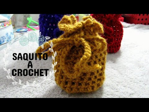 Mini Bolsa o saquito a Crochet - Aprende a tejer paso a paso