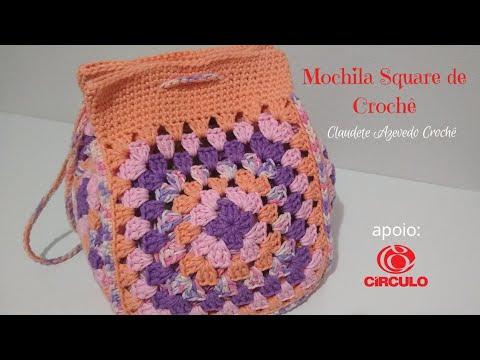 Mochila Square de Crochê Fácil
