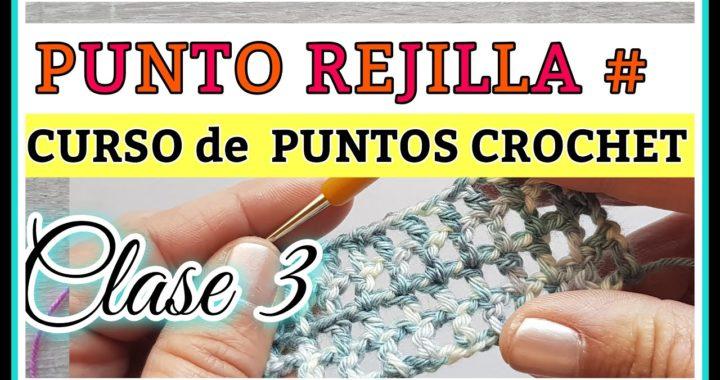 PUNTO RED  REJILLA EN CUADRO* CROCHET NET STITCH.*CLASE Nº3 CURSO PUNTOS A CROCHET.