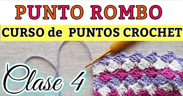 PUNTO ROMBO CROCHET.  CROCHET RHOMBUS STITCH#CLASE Nº 4 PUNTOS CROCHET.#yomequedoencasa