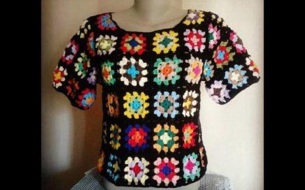 Passo a Passo - Blusa de Crochê em Quadrados Colorida