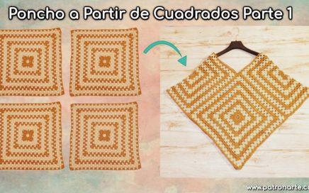 Poncho de Crochet - Ganchillo Tejido con Cuadrados parte 1: Tejer los Cuadrados o Granny Square