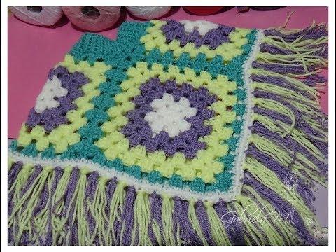 Poncho tejido con 4 grannys en crochet paso a paso