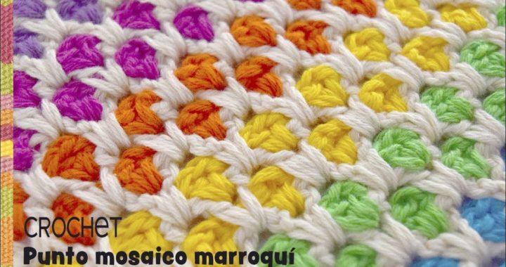 Punto mosaico marroquí colorido tejido a crochet / Tejiendo Perú