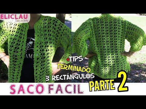 Saco fácil a crochet con 3 rectángulos - Armado | Parte 2 | EliClau