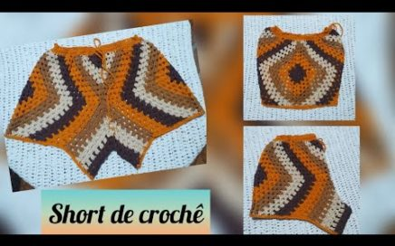 Short square de croche, tutorial passo a passo #marcialobocroche #diy