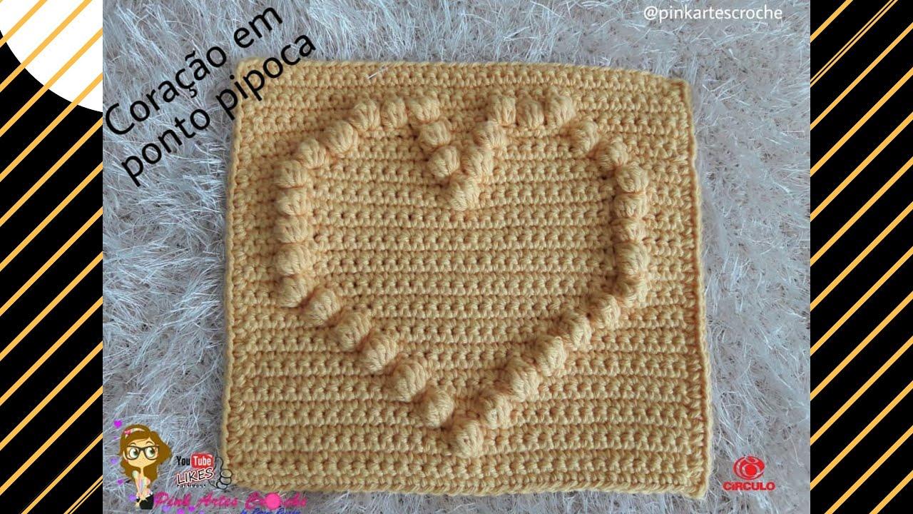 👊#  Square Coração em ponto Pipoca - Pink Artes Croche by Rosana Recchia