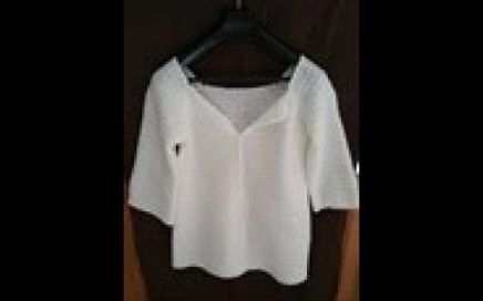 TUTO crochet : Pull en col carré facile / crochet tutorial: square-neck sweater