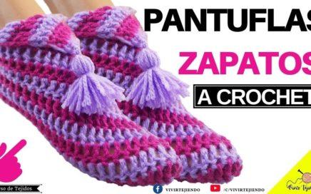 💜 Tejiendo Pantuflas Babuchas con un cuadro a crochet ✅ Tejidos a crochet