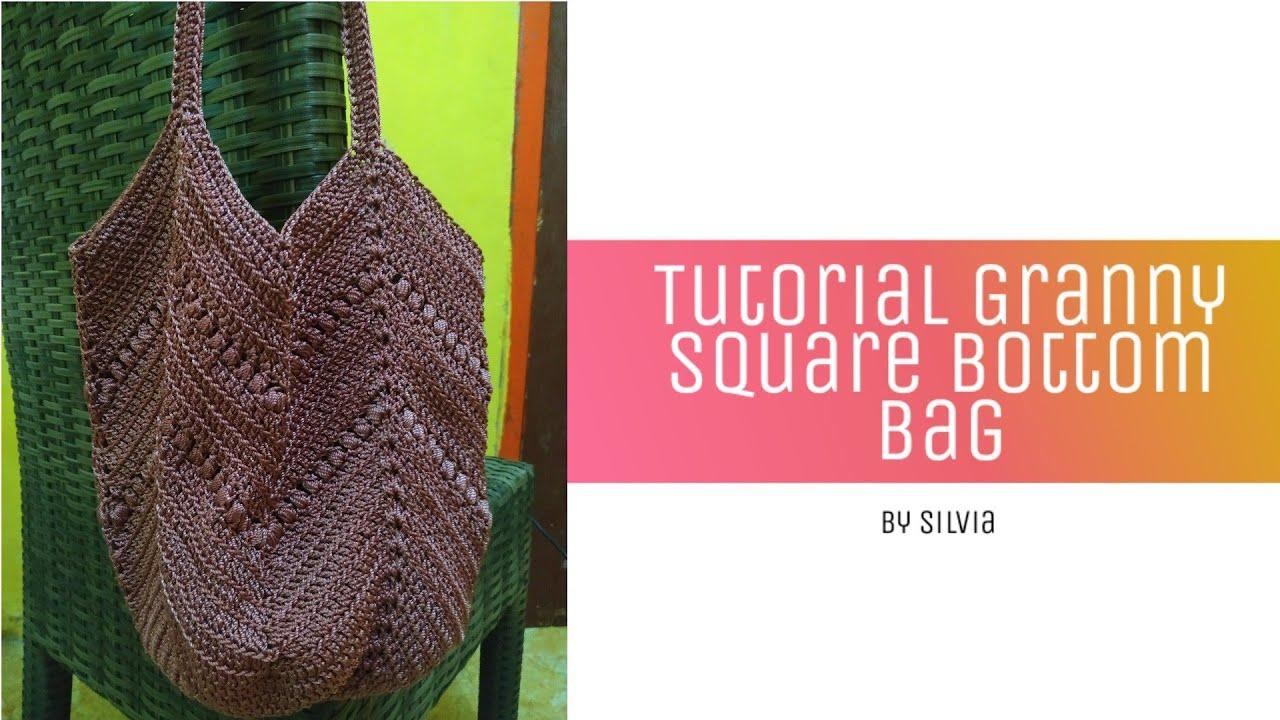Tutorial Granny Square Bottom Bag  #tutorialcrochet #grannysquare #grannycrochet #tutorialmerajut