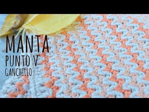 Tutorial Manta Fácil Bebé Punto V Ganchillo | Crochet - Lanas y Ovillos
