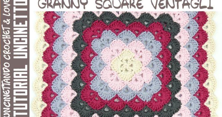 Tutorial Mattonella Quadrata con Ventagli ad Uncinetto (sub. eng. y esp.)