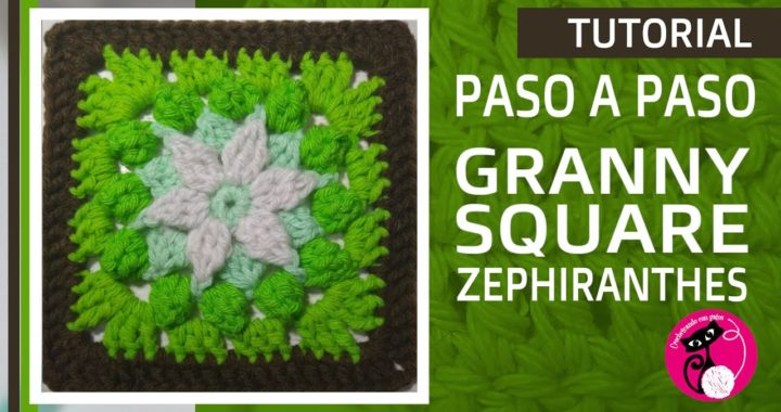 Tutorial crochet GRANNY SQUARE: Flor Zephiranthes. En CASTELLANO! Paso a paso. FÁCIL