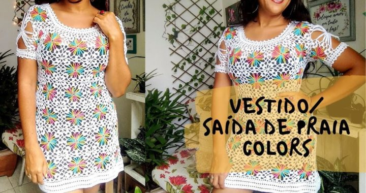 Vestido de crochê com squares coloridos - 2ª parte