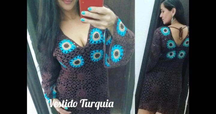 """Vestido de crochê """"Turquia"""" tutorial passo a passo fácil de fazer."""