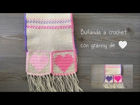 bufanda a crochet con granny de corazón