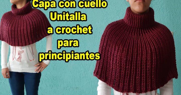 capa a crochet - tutorial - tejido facil - poncho a crochet para principiantes