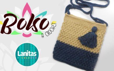 🌸como tejer un BOLSO a crochet FACIL   Lanitas y colores 🌸