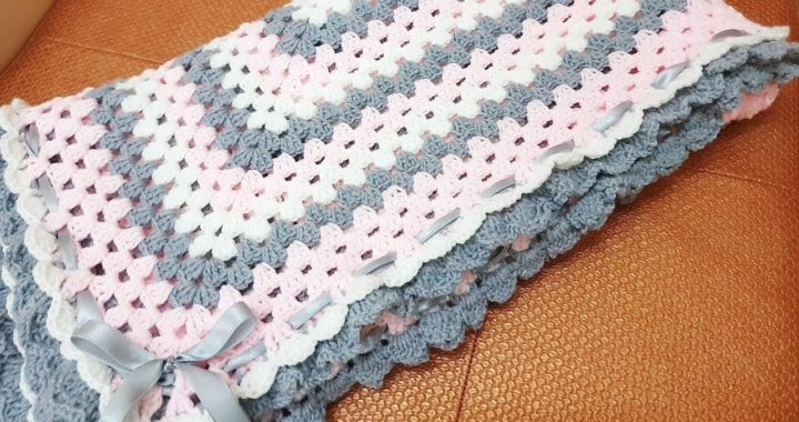 crochet Pink Gray Granny's Square  Baby Blanket