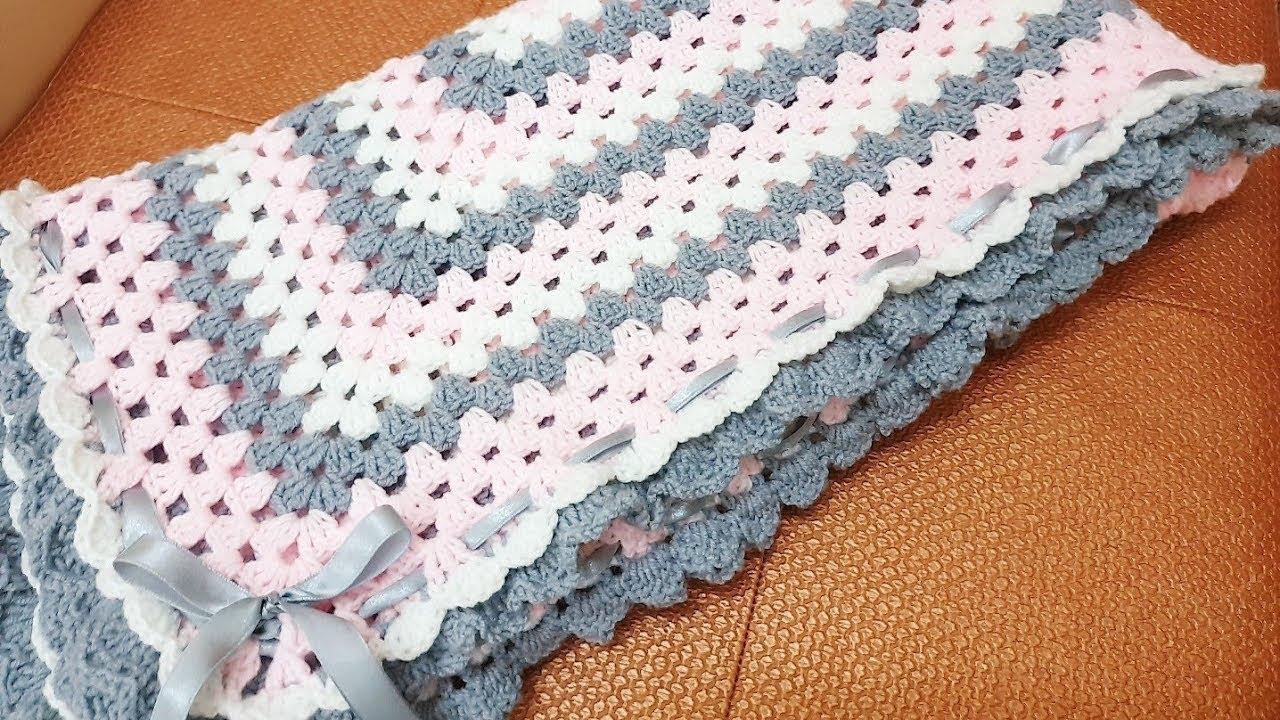 crochet Pink Gray Granny's Square  Baby Blanket