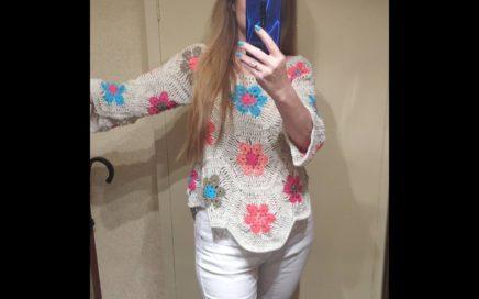 crochet blusa jersey  primavera flor africana facil (subtitles several lenguage)