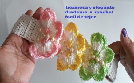 diadema a crochet -  con mariposas tejidas en 3D facil paso a paso - crochet headband