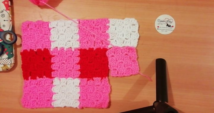 110.- c2c Básico Cuadrito de 4x4 unir un lado para una manta estilo Pixel Parte 2